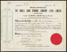 Irwell Bank SPINNING Company (1919) Ltd, £ 5 azioni, 1928