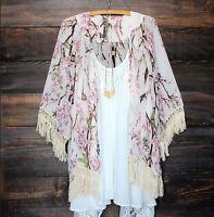 Women Boho Floral Lace Tassels Cover Up Beach Dress Kimono Shirt Swimwear USA
