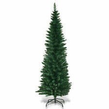 6Ft PVC Artificial Slim Pencil Christmas Tree W/ Metal Stand Holiday Decor Green
