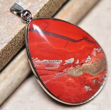 "Bloodstone Jasper Sea Sediment Quartz Natural Gemstone 1.75"" Silver Pendant #58"