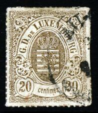 LUXEMBOURG 1871 20c. Grey-Brown Rouletted in Colour SG 29 VFU