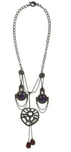 ALL SAINTS *INERTIA Statement Necklace, 4 Purple Red Crystals, SteamPunk, Gothic