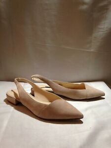 Nine West For Love slingback flats Pointy Toe Blush Pink 10.5M suede