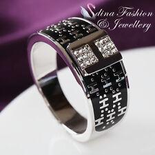 18K White Gold Plated Simulated Diamond Popular Latter H Men's Ring Jewellery