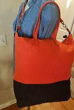 Gap Orange and Navy Colorblock tote bag. Leather straps. EUC