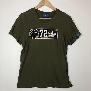 Adidas Basketball Trefoil Womens Green T Shirt Size M Big Logo Ladies Tee Gym