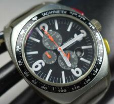 Montres De Luxe Men's Big Avio Chro Aluminum Gray Leather Cuff Watch NEW BATT!