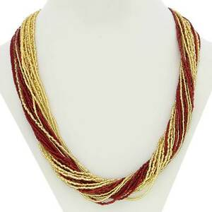 GlassOfVenice Murano Glass Gloriosa 24 Strand Seed Bead Necklace - Red and Gold