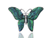 Hot Medium Glossy Watermarks Abalone Shell Winged Butterfly Silver Pin Brooch
