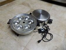 SALAD MASTER SST STEEL 11 INCH ELECTRIC SKILLET WITH HIGH DOME LID EGG POACHER