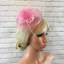 Baby Pink  Layered Fascinator Headband Flower Loop Feather Weddings Races Hats