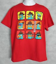 Disney Phineas and Ferb Boys T-Shirt New Red Agent Perry Platypus 18/20
