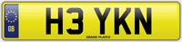 KN INITIALS NUMBER PLATE HEY HI CHERISHED CAR REG H3 YKN NO ADDED FEES TO PAY
