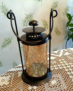 """Metal Candle Lantern with Glass Cylinder Shade / Handle for Hanging / 10"""""""