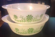 Pyrex Glasbake Bowls Set (2) Mix Serving 2 & 1.5 Quart, White/Green Flowers
