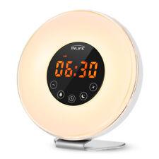 INLIFE Wake-up Light Sunrise Alarm Clock LED FM Radio Bedside Mood Night US Plug
