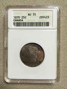 CANADA 1870 Royal Canadian Mint Silver Quarter Dollar 25 Cent ANACS Graded AU55