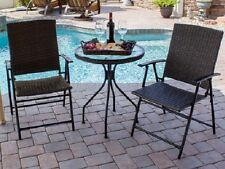 Patio 3 Pc Folding Wicker Bistro Set Chairs Glass Top Table Brown Garden Deck