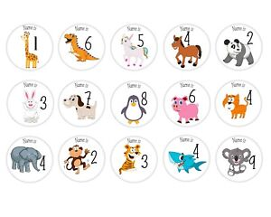 Personalised Animal Name and Age Birthday badge Large 58mm