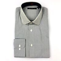 John Varvatos Star USA Gray Stripe Contrast Collar Dress Shirt 15.5 34/35