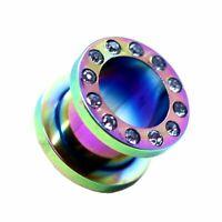 1x oder Set Flesh Tunnel Plug Piercing Glitzer Strass Rainbow Edelstahl 1,6-10mm