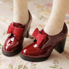 Vintage Women's Bowknot Lolita Mary Janes High Block Heel Pumps Retro Shoes Zsel