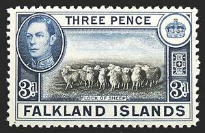 Falkland Islands Stamp 1938-50 3d King George VI Scott # 87A SG153 MINT OG LH-H