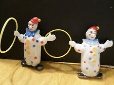 Lot 2 vintage 1960's Clowns with hoops - plastic - cake toppers - Hong Kong