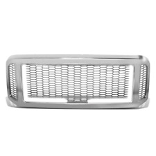 For 05 to 07 Ford F250 F350 Super Duty Honeycomb Mesh Front Grille w/LED Bar