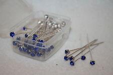 72 LUXURY *royal blue * diamante pins WEDDING FLOWERS bouquet L841