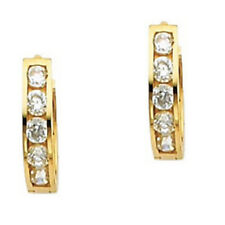 14K Solid Italian Yellow Gold 2mm Simulated Diamonds Huggies Hoop Small Earrings