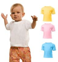 Hanes Plain Cotton BLUE PINK GREY YELLOW OR WHITE Infant Baby ToddlerTee T-Shirt