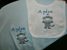 Sock Monkey Personalized Baby Toddler Infant Blanket & Bib Set Boy or Girl