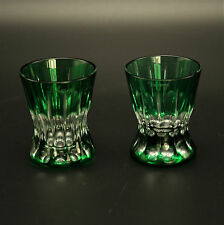 Set of 2 Faberge Na Zdorovye Vodka Glasses Green Cased Crystal