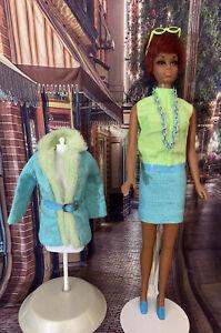 Vintage Julia Barbie Doll  Brr-Furr #1752 Blue Green Jacket And Dress With Extra