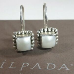 Silpada W1394 Pearl Button Frame Square Earrings 925 Sterling Silver POPULAR