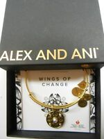 Alex and Ani WINGS OF CHANGE Charm Bangle Bracelet Raf Gold New W/Tag Box Card