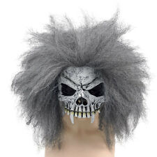 ADULT GREY #SKULL HALF FACE MASK & HAIR FANCY DRESS SKELETON OUTFIT ACCESSORY