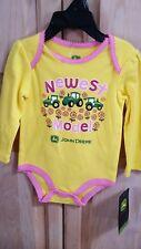 John Deere Girls Newest Model Bodyshirt, Yellow, 3/6 Months