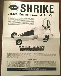 COX SHRIKE .049 ENGINE POWERED CAR OWNER'S MANUAL INSTRUCTIONS 049
