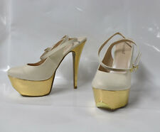 "Shoedazzle ""Sadhbh"" cream tweed hi-heel slingback sandal - Size 11 6.5"" heel New"