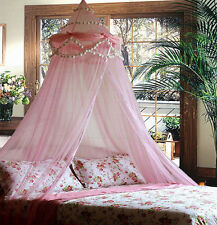 PINK RUFFLE POMPOM BED CANOPY MOSQUITO NET TWIN - QUEEN FREE SHIPPING FROM USA