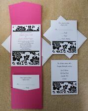 100 Personalized Custom Damask Pocket Wedding Invitations Set