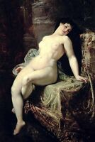 Perfect huge Oil painting naked nude young woman seated on table hand painted