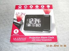 La Crosse Technology Projection Alarm Clock with Indoor Temperature, W85923, New