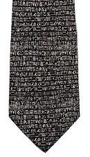 Rosetta Stone Egyptian Hieroglyphs Museum Silk Tie, Black - 7329
