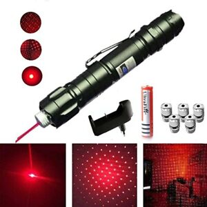 Red Laser Pointer Pen Strong High Rechargeable Beam Light 900 Miles 1mW