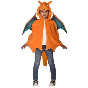 Child Charizard Fancy Dress Pokemon Cape Gaming Kids Orange Cosplay Cartoon