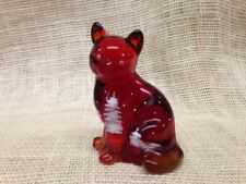 FENTON Ruby Red/Yellow Amberina Sitting Cat  Winter/Christmas Glistening trees