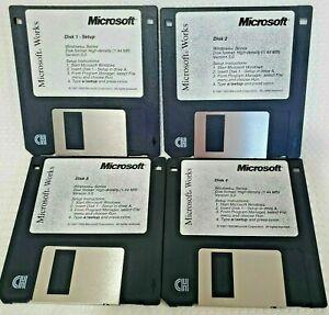 Vintage 1993 Microsoft Works High Density 1.44MB Version 3.0 Disk Set 1-4
